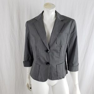 Worth Blazer Cropped 3/4 Sleeve Button Lined Gray